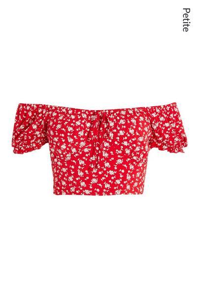 Petite Red Floral Crop Top